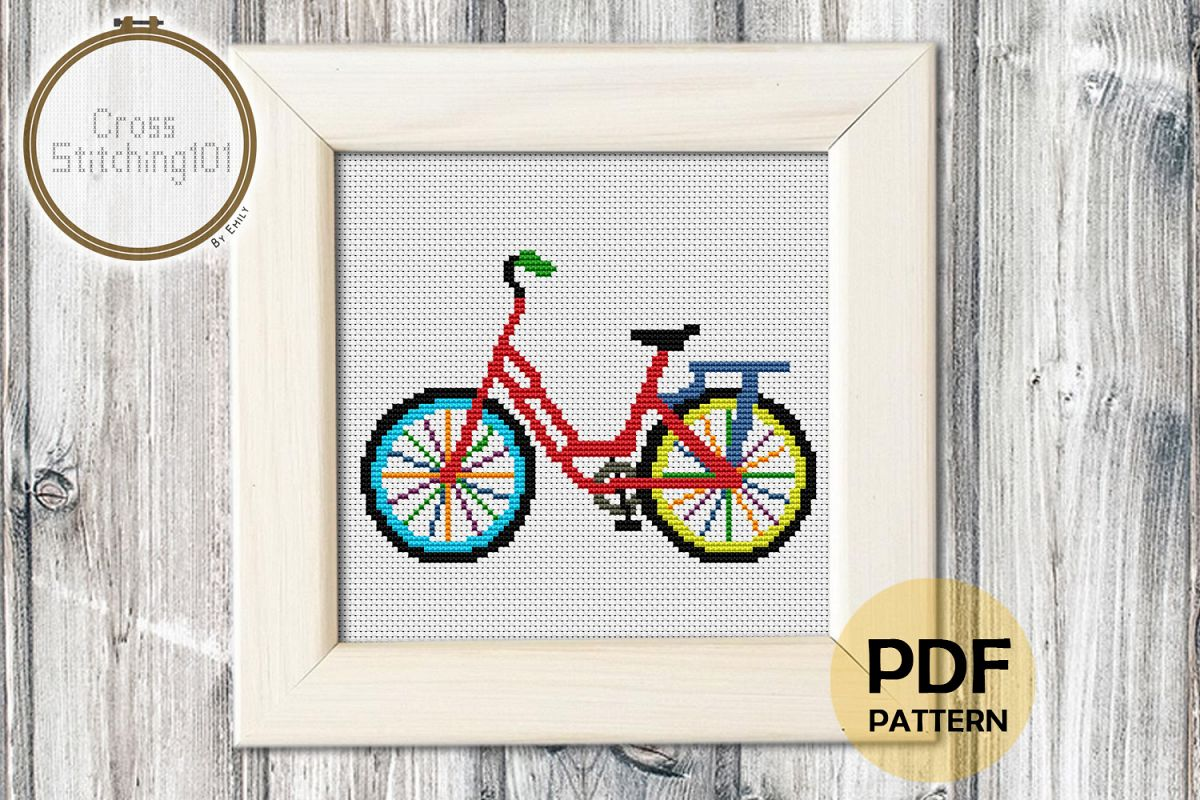 Cycle Cross Stitch Pattern- Instant Download PDF example image 1