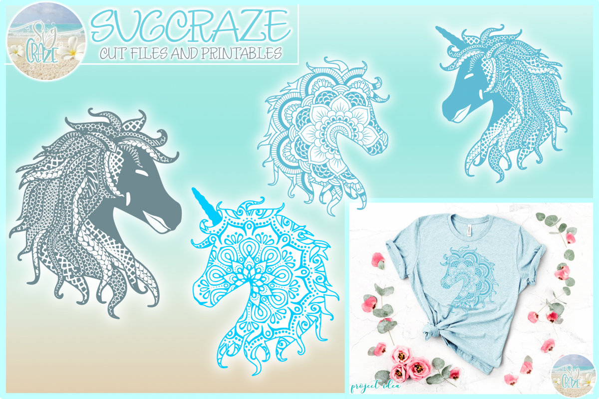 Horse Unicorn Mandala Zentangle Bundle Svg Dxf Eps Png PDF example image 1
