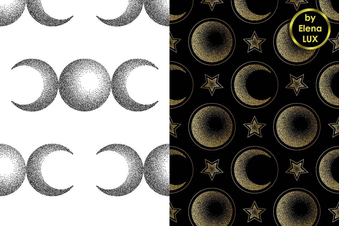 Moon Dotwork Seamless Set example image 1