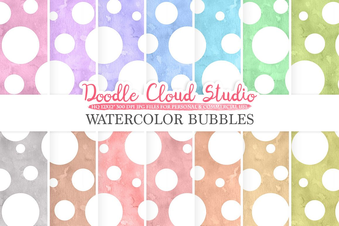 Watercolor Bubbles digital paper, Dotted pattern, Digital dots, pastel watercolor background, Instant Download for Personal & Commercial Use example image 1
