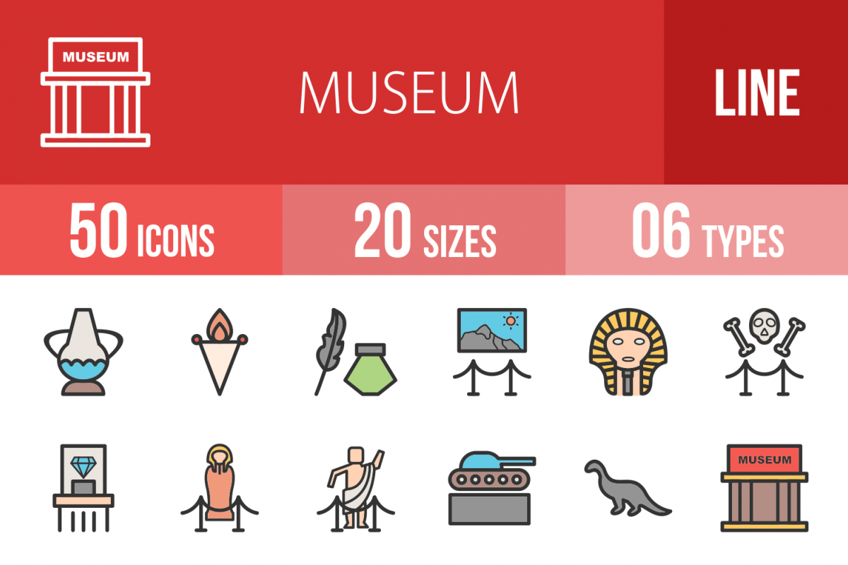 50 Museum Linear Multicolor Icons example image 1