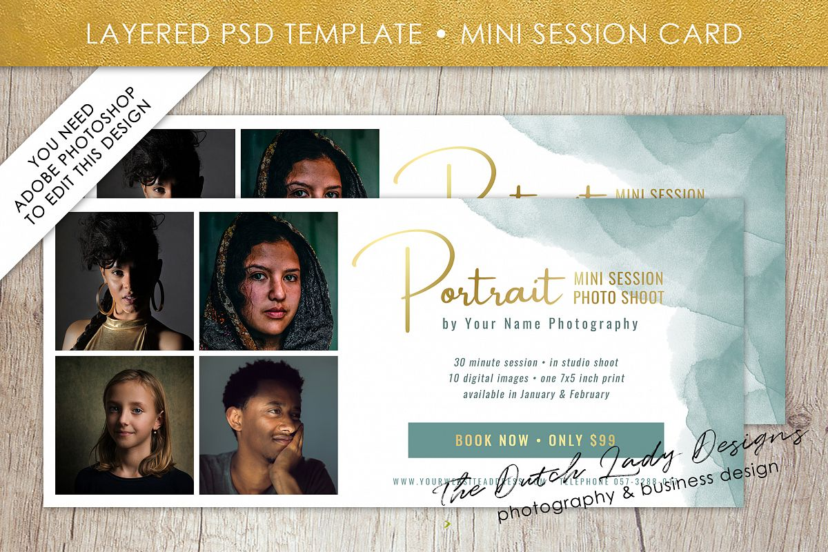 PSD Photo Mini Session Card Template - Design #30 example image 1