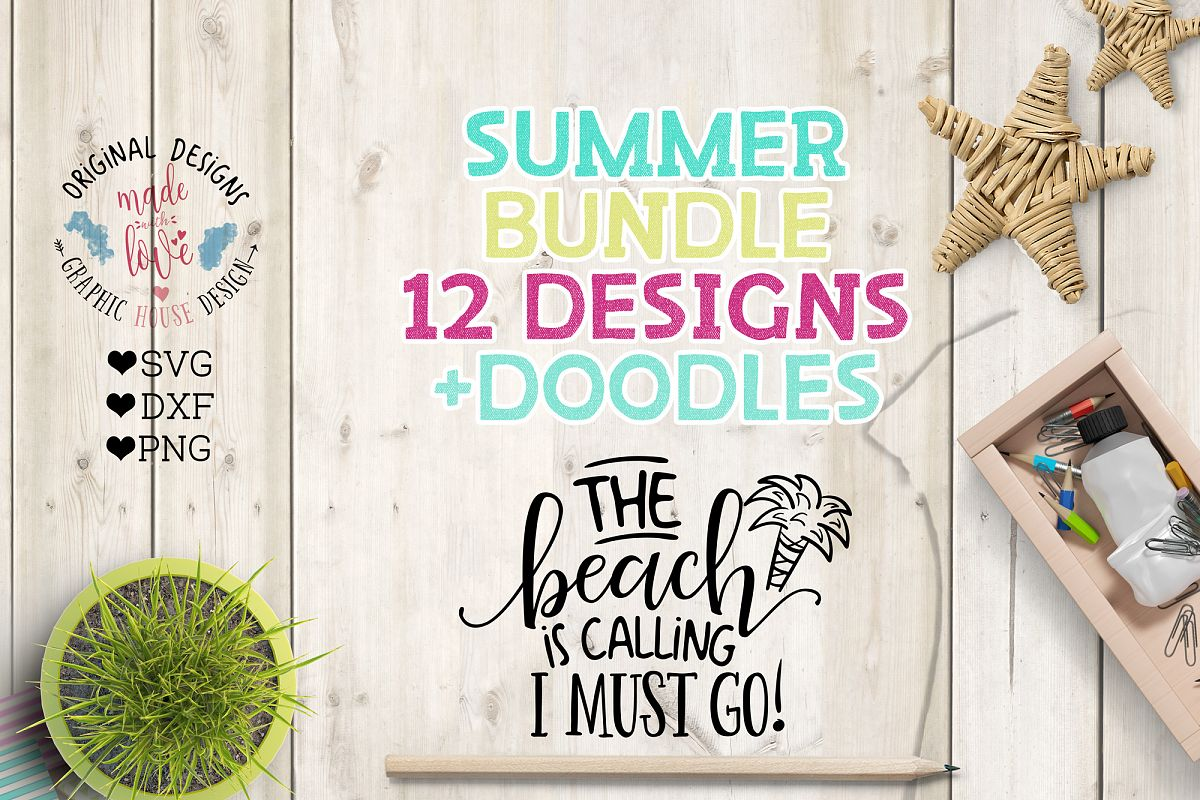 Summer SVG Summer Quotes Summer Cut Files Bundle and Doodles example image 1