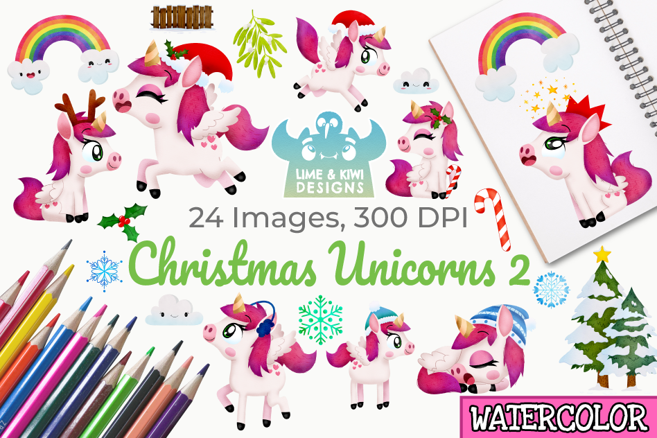 Christmas Unicorns 2 Watercolor Clipart, Instant Download example image 1
