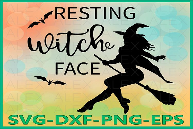 Resting Witch Face Svg, Halloween Witches, Witch png example image 1