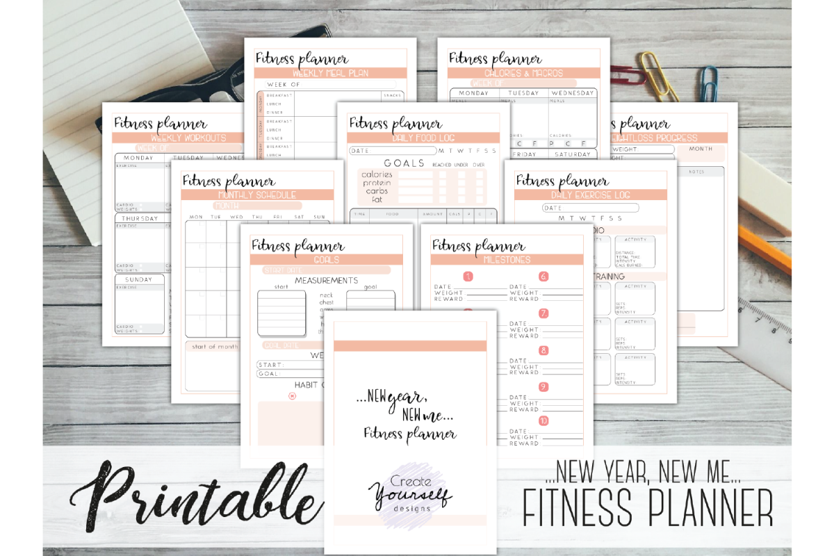 photo regarding Fitness Planner Printable titled Health and fitness planner printable - excess weight decline tracker