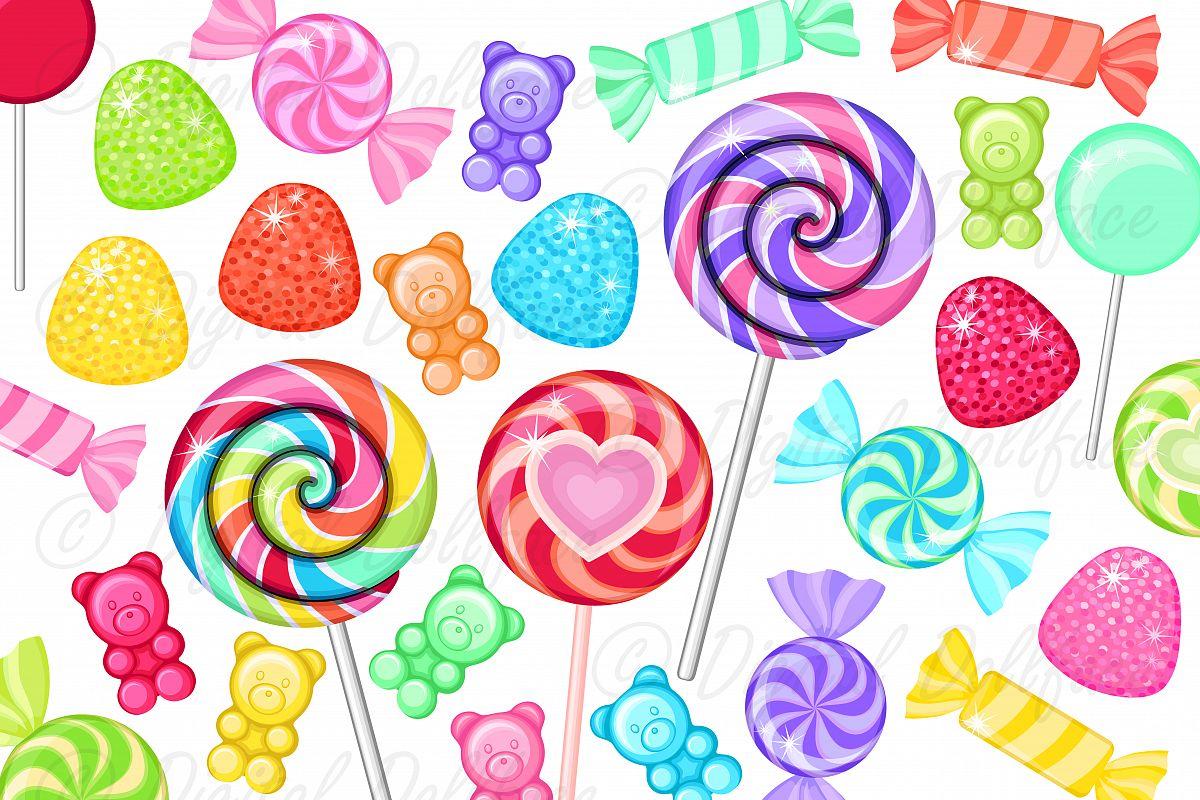 colorful candy clip art rainbow sweet treats junk food