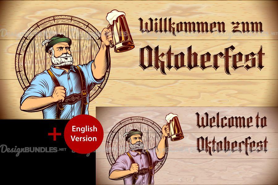 Vector Flyer Invite Copyspace Beer Glass Oktoberfest Man example image 1