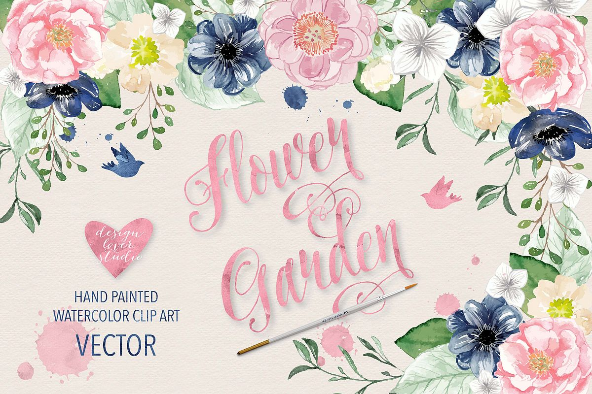 Vector Watercolor Navy blue and Pink Flower Garden clipart example image 1