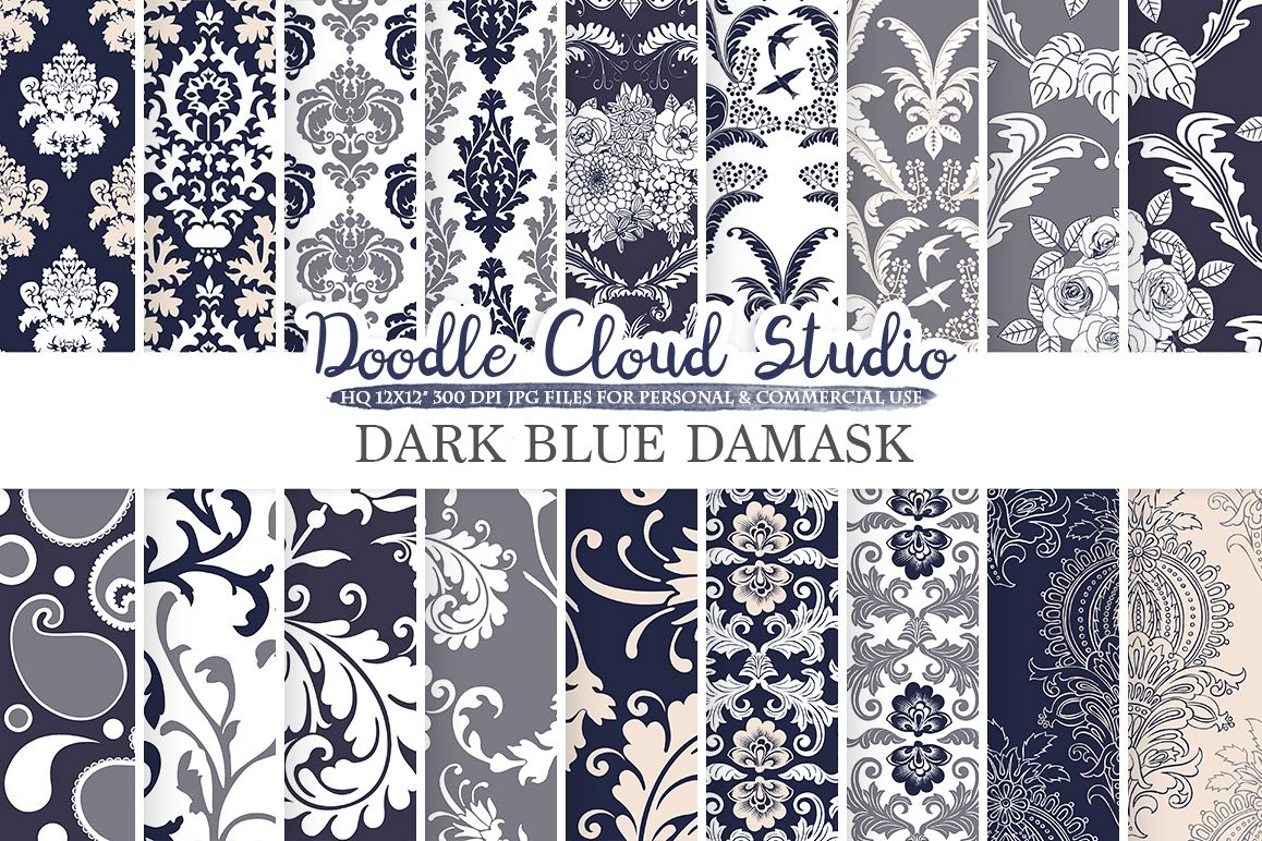 Dark Blue Navy Cream Gray Damask digital paper, Swirls patterns, Digital Floral Damask, Blue backgrounds ,  for Personal & Commercial Use example image 1
