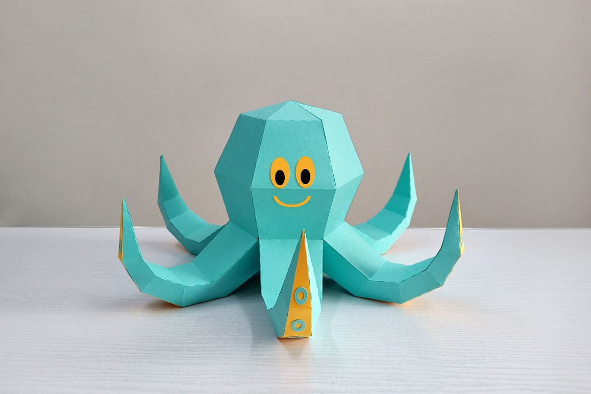 DIY Octopus Sculpture - 3d papercraft example image 1