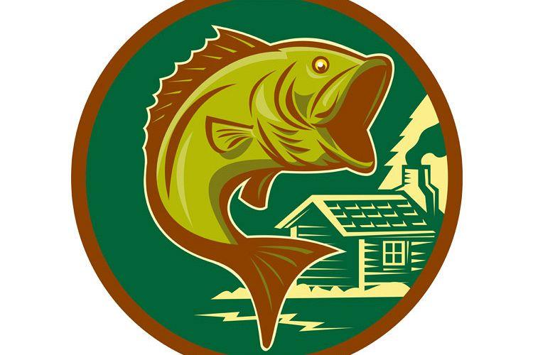 largemouth bass fish jumping log cabin example image 1