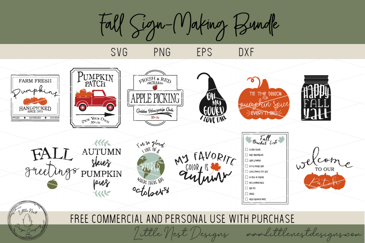 Fall Sign SVG Bundle - Farmhouse Sign Bundle example image 1