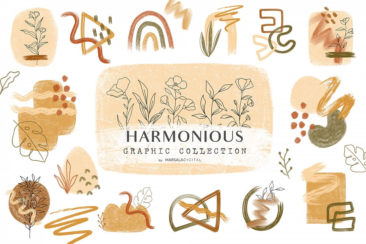 Harmonious Brush Strokes Abstract Graphic Collection example image 1