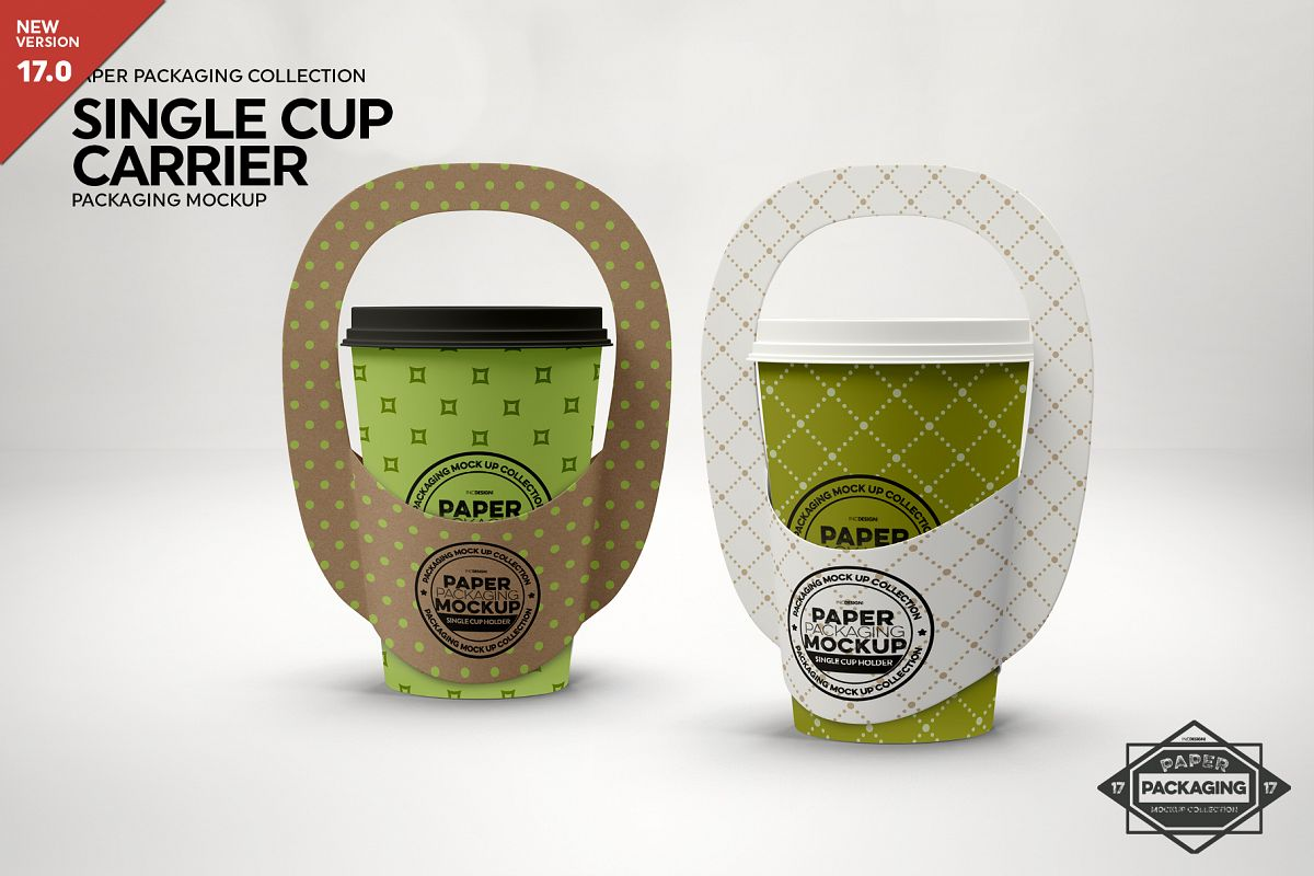 Single Cup Paper Carrier Packaging Mockup example image 1