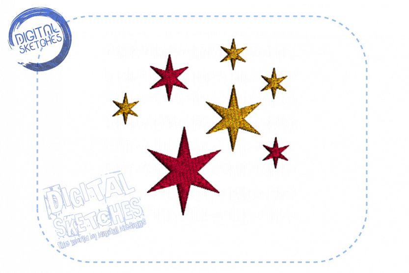 Star Stars Machine Embroidery Design Instant Download example image 1