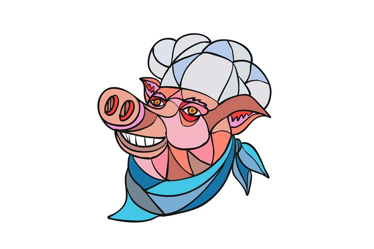 Pig Pork Baker Mosaic Color example image 1