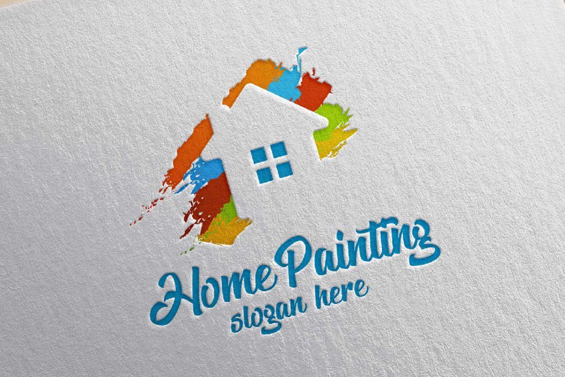 Home Painting Vector Logo Design 2 by d | Design Bundles