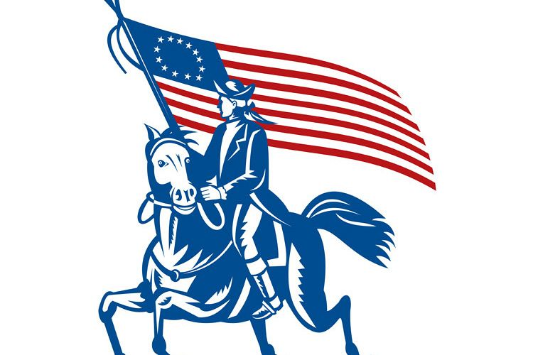 American revolutionary general riding horse Betsy Ross Flag example image 1