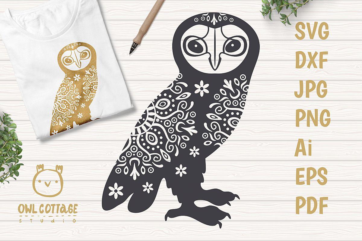 Barn Owl with floral decor SVG, Mandala Decor Cut File example image 1
