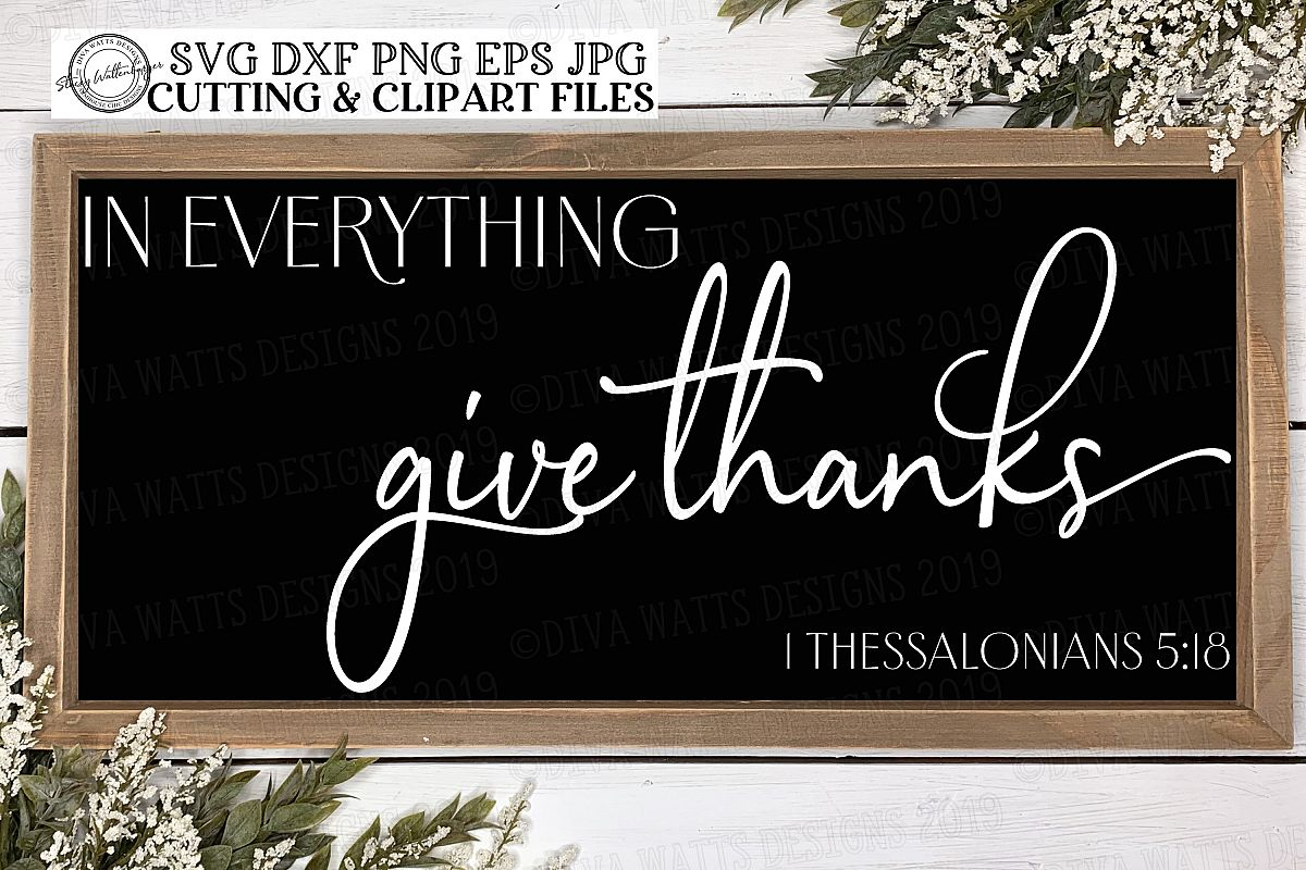 In Everything Give Thanks | Bible Verse | Fall Thanksgiving example image 1
