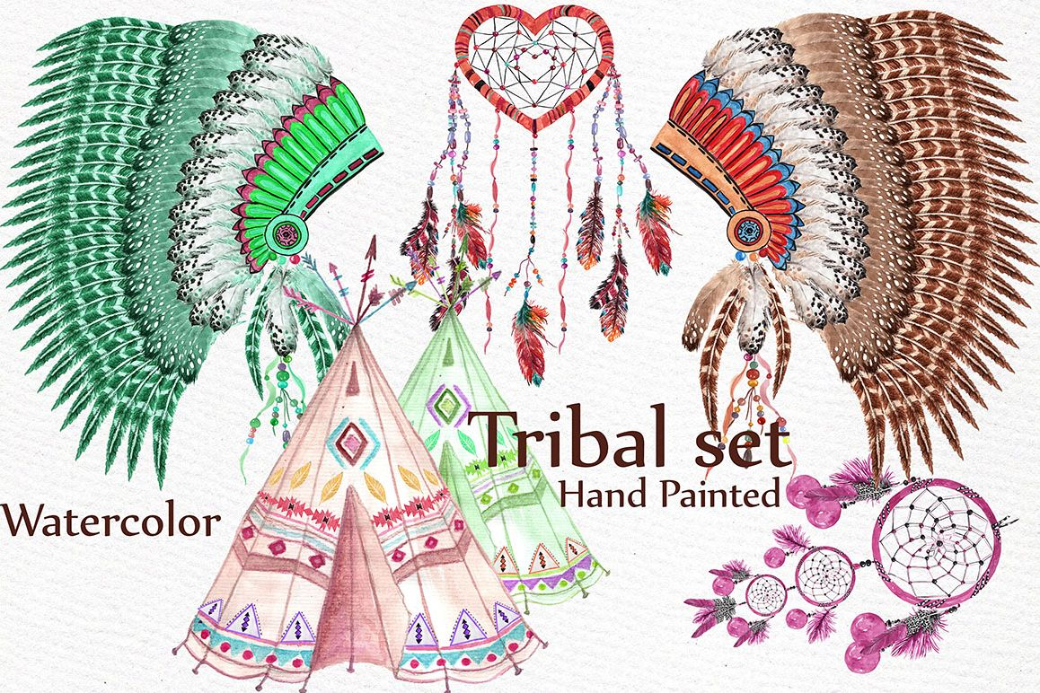 Watercolor tribal set example image 1