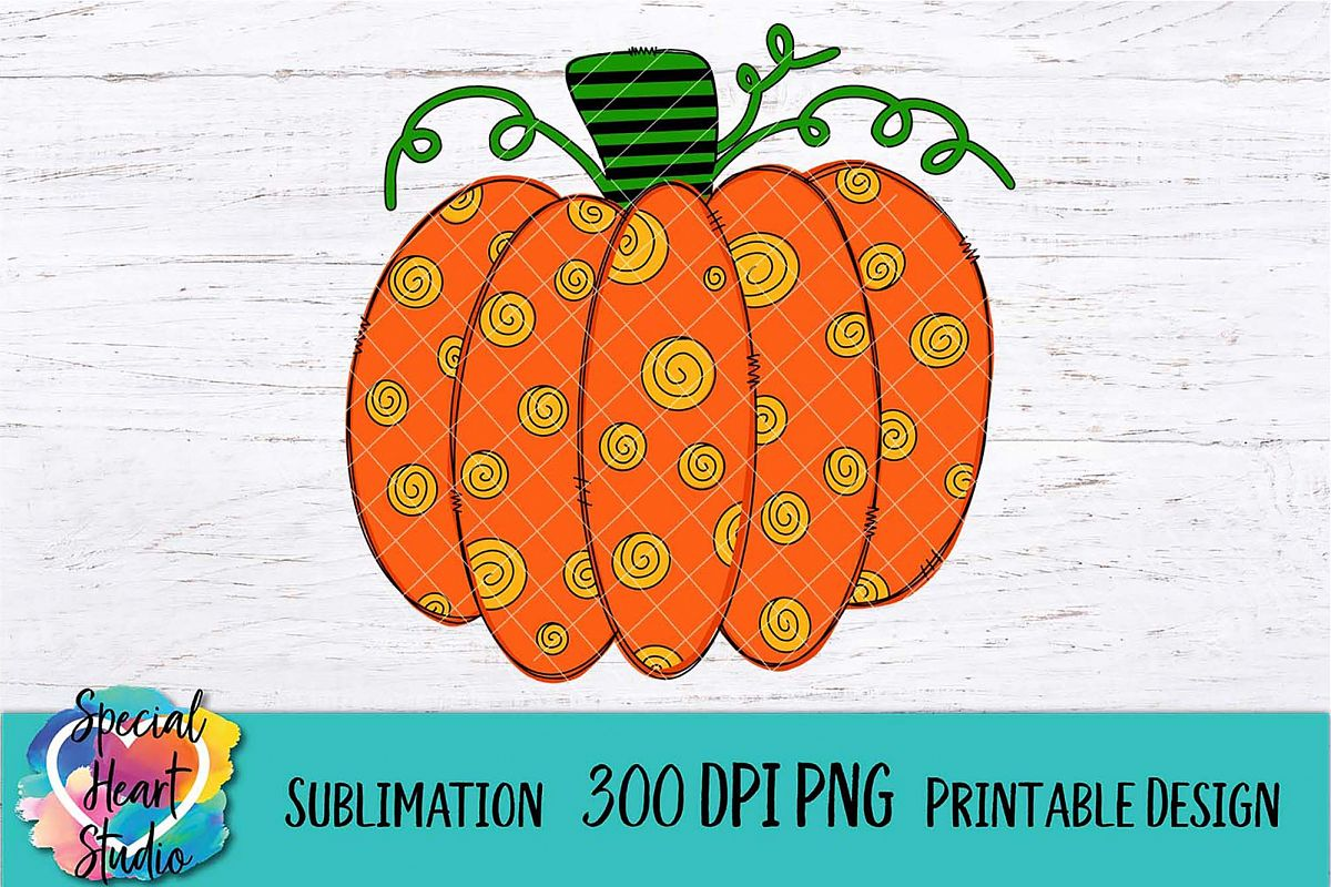 Pumpkin- A Hand Drawn Fall Sublimation Design - 300 DPI PNG example image 1