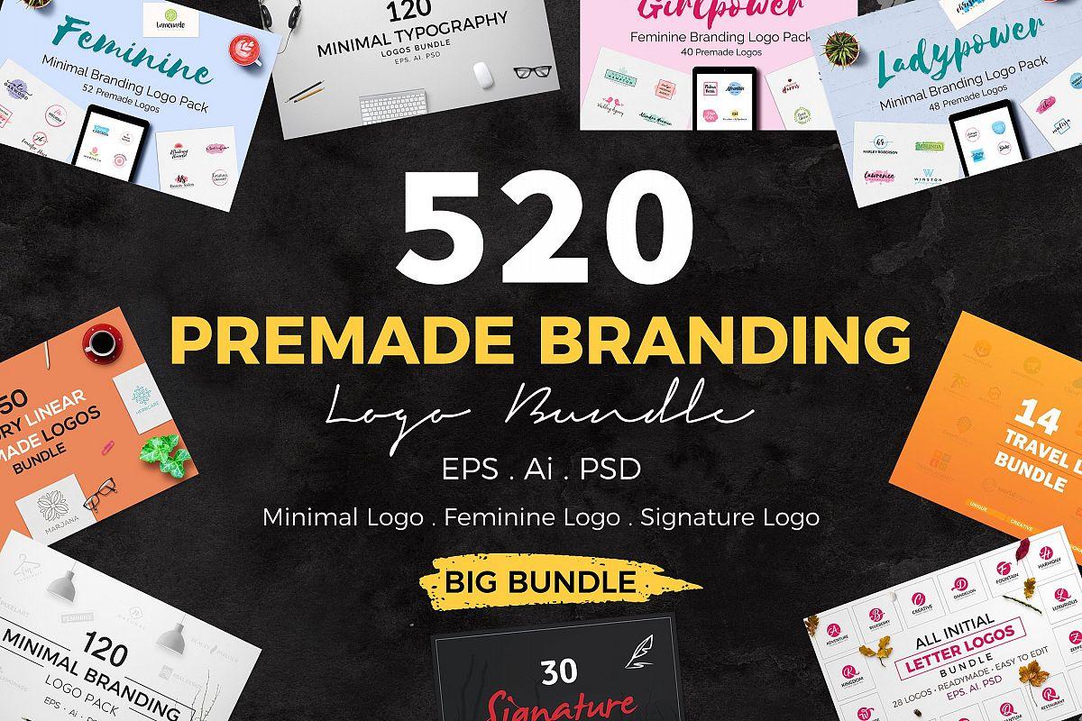 520 Premade Logo Bundle + Bonus Free Download