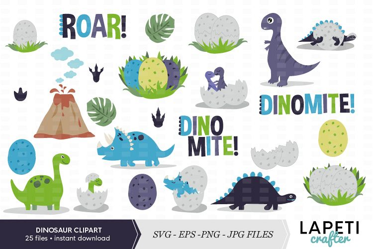 Cute dinosaur clipart set example image 1