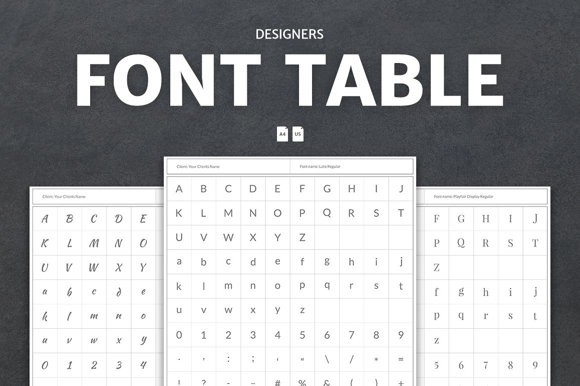 Designers Font Table example image 1
