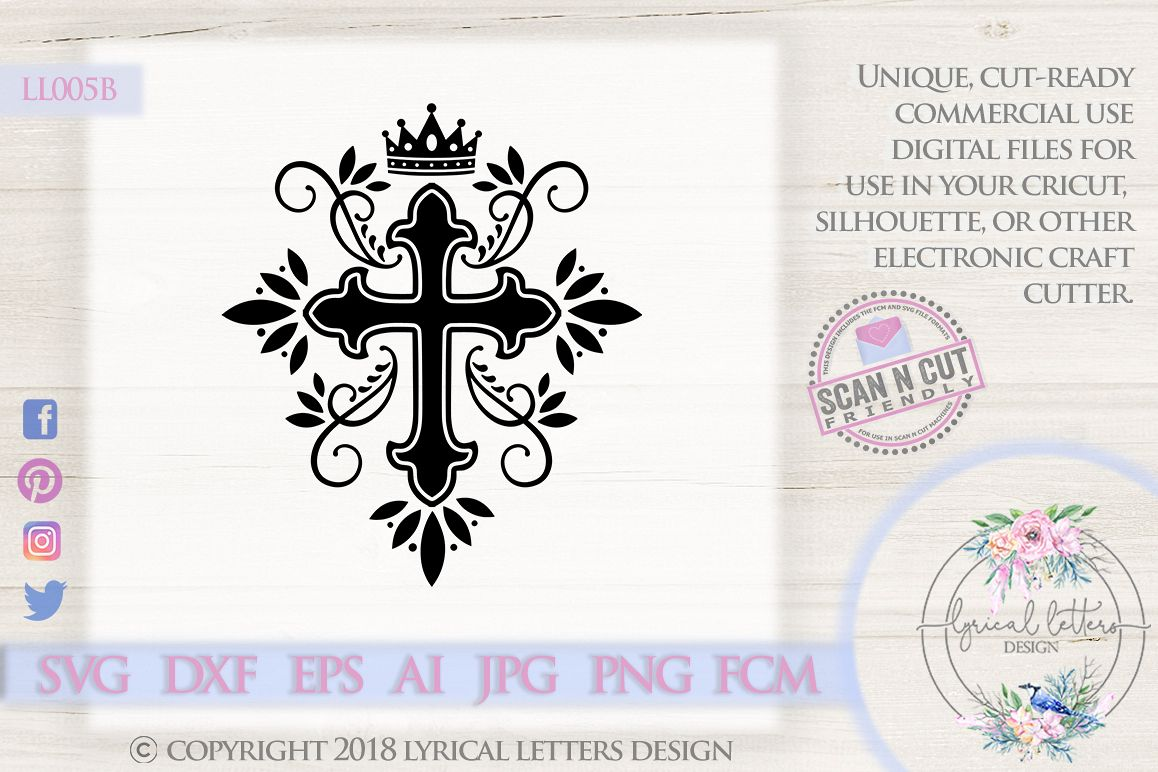 Cross with Crown and Flourishes Christian SVG DXF LL005B example image 1
