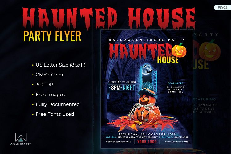 Haunted House Party Flyer Template For Example Image 1