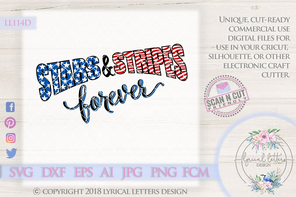 Stars and Stripes Forever American Flag Patriotic Cutting File LL114D  SVG DXF FCM EPS AI JPG PNG example image 1