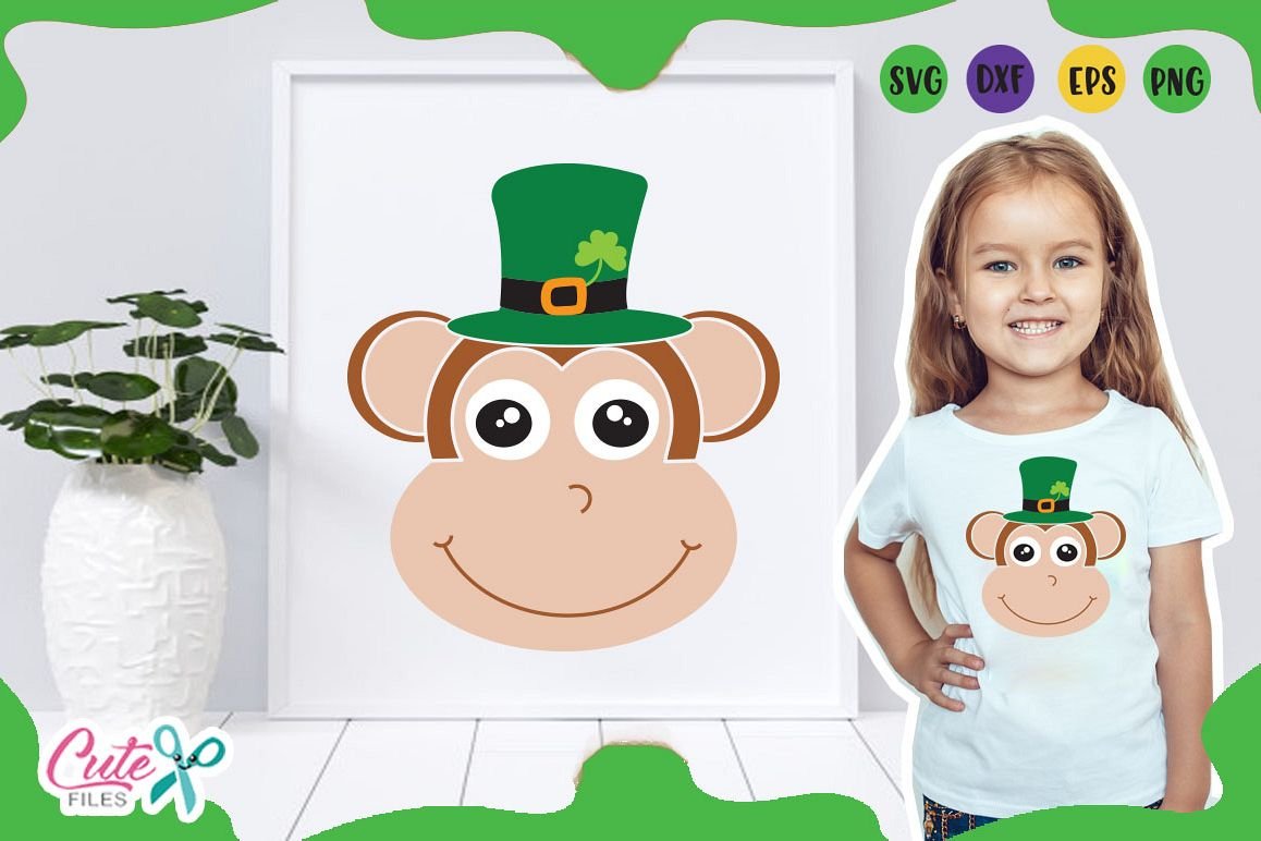 Monkey face svg, St. Patrick day Files for crafters example image 1