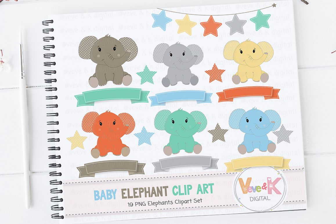 Cute Elephant Clip Art Elephant Clipart Set Baby Boy Shower Blue