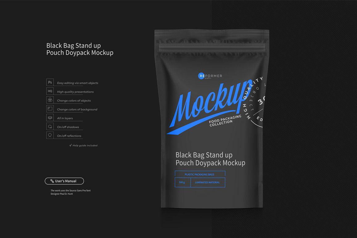 Black Bag Stand up Pouch Doypack Mockup example image 1
