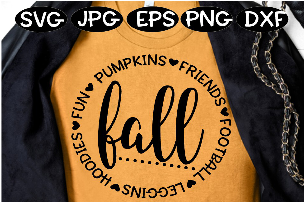 Fall SVG Fall Words Circle Football Leggins Friends Fun example image 1