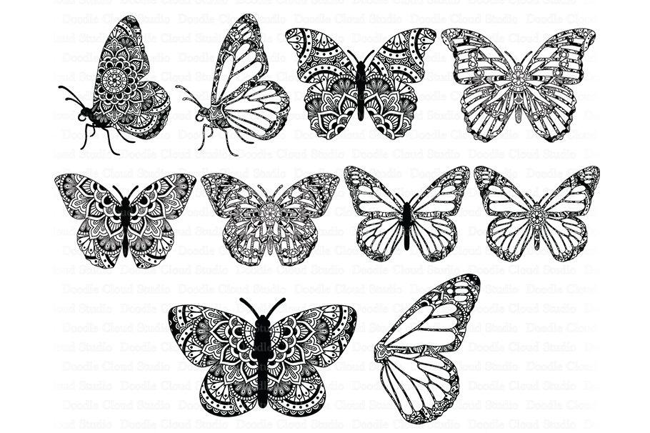 Download Mandala Butterfly SVG Zentangle Files, Butterfly Wing SVG