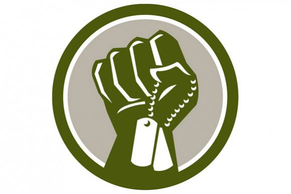 Clenched Fist Holding Dogtag Circle Retro example image 1