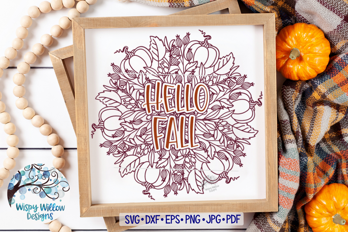 Hello Fall Pumpkin Mandala SVG   Fall Mandala SVG   Fall SVG example image 1