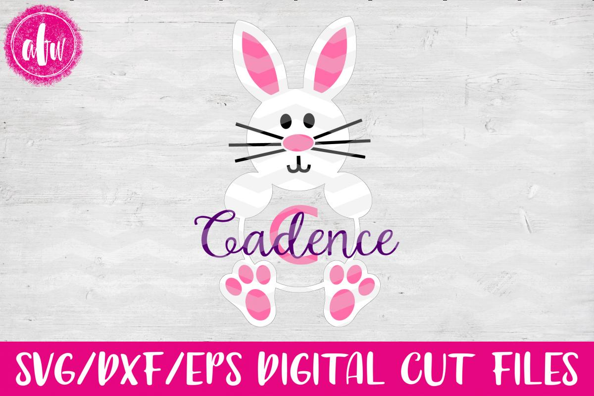 Monogram Bunny - SVG, DXF, EPS Cut File example image 1