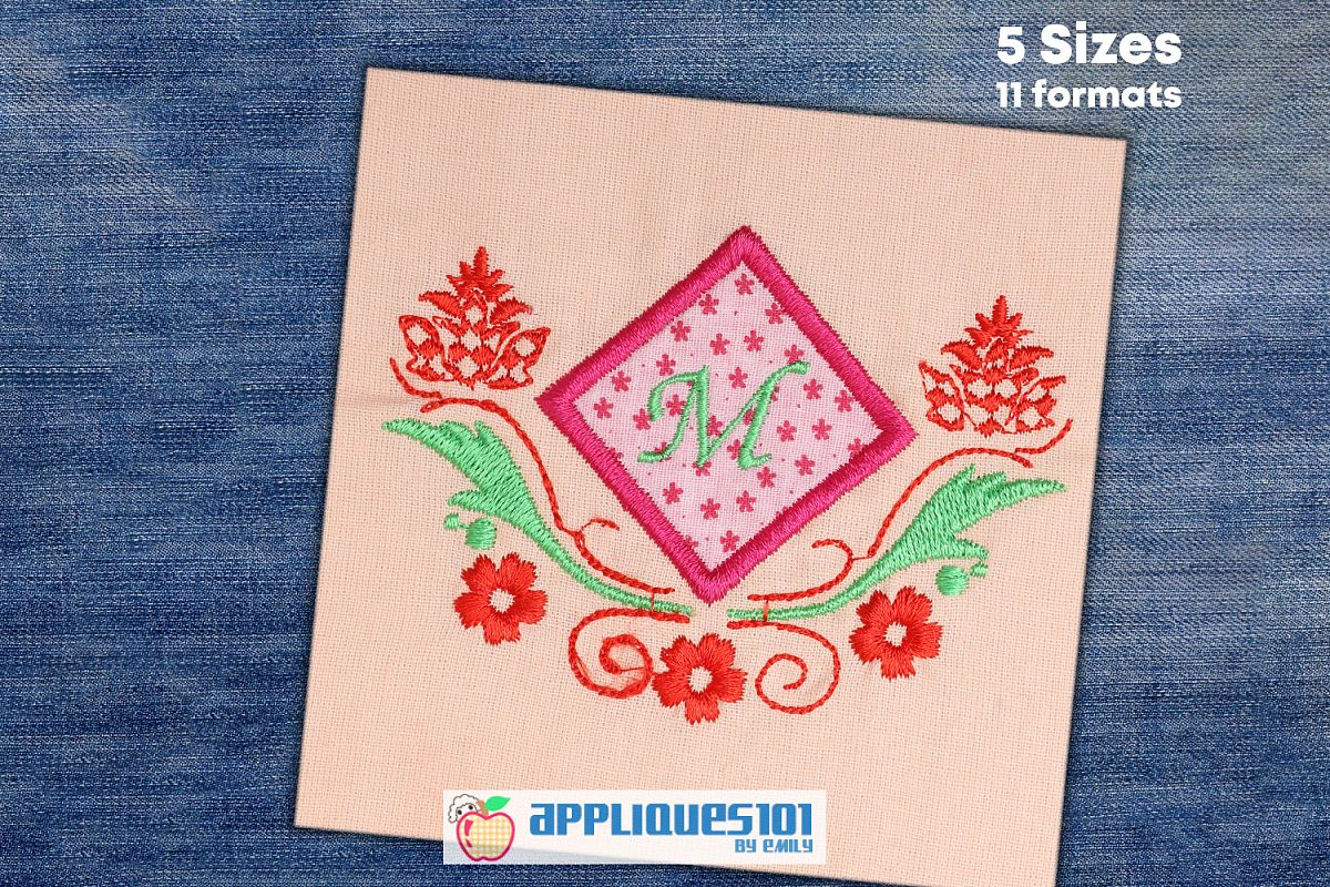 Template 1 Machine Embroidery Applique Design - Floral example image 1