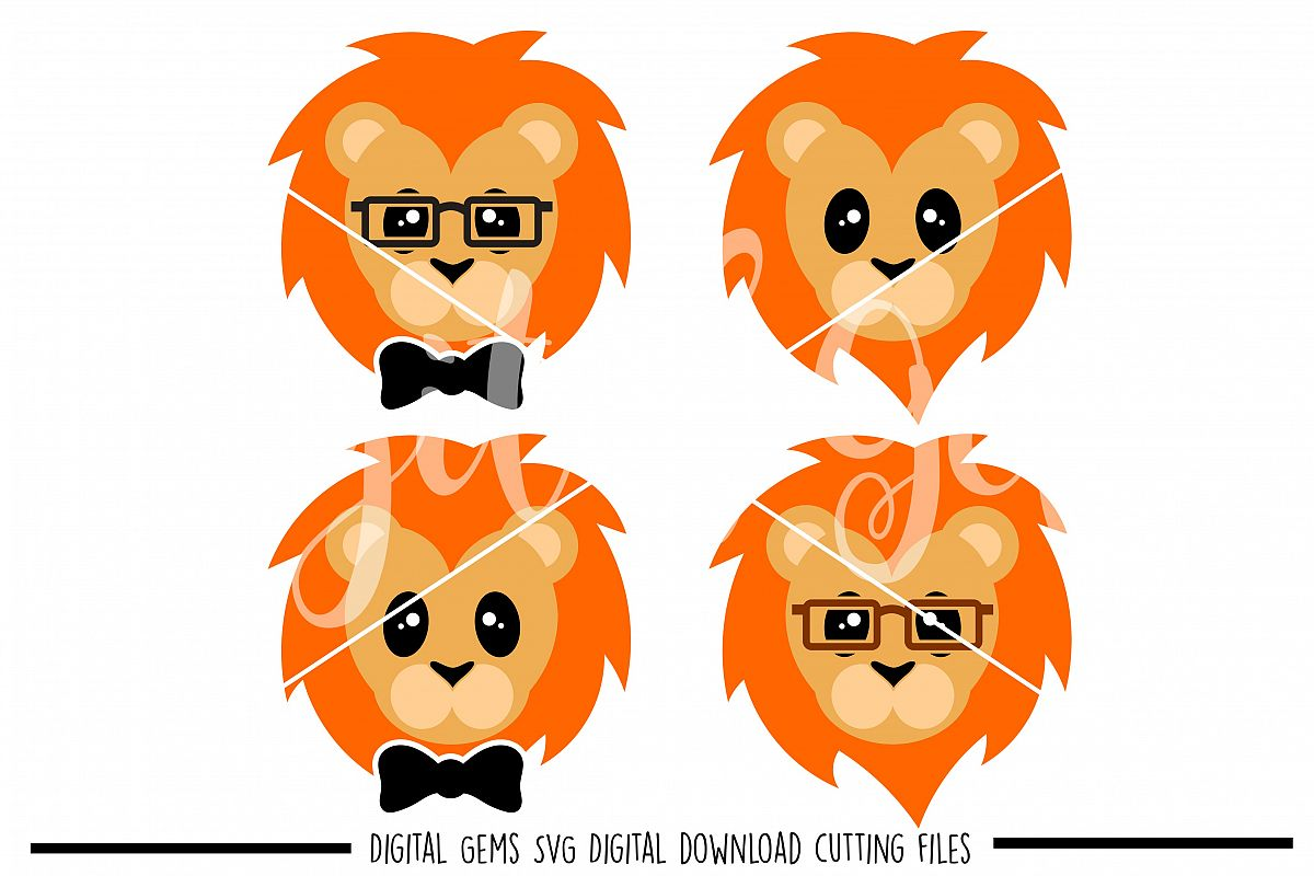Lion faces SVG / PNG / EPS / DXF Files example image 1