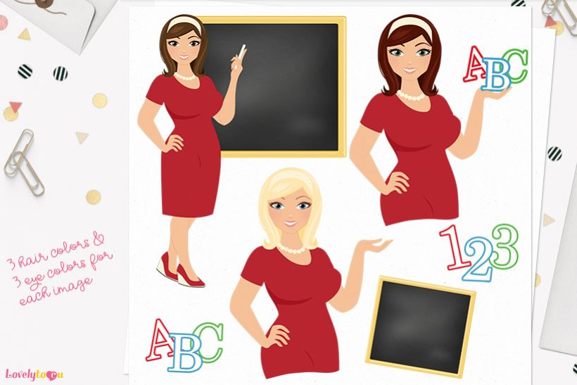 Woman teacher character clip art L079 Willow example image 1