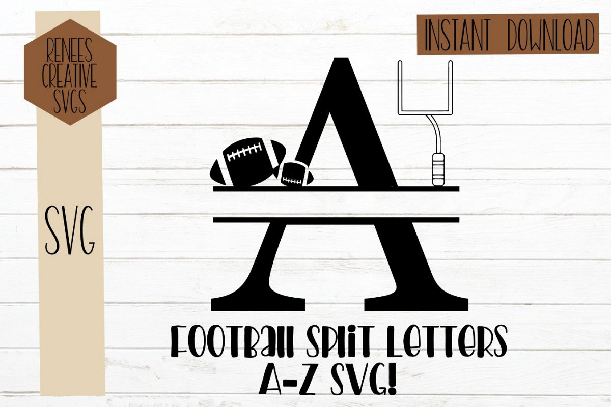 Football Split Letters| Split Monogram letters| SVG Cut File example image 1