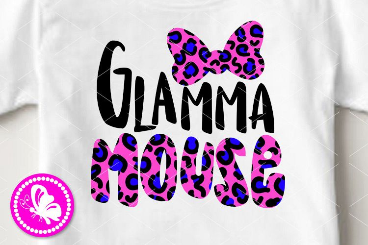 Glamma mouse svg Leopard print bow clip art Family design example image 1