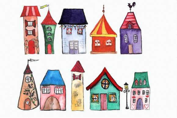 11 Watercolor Houses Clip Art example image 1