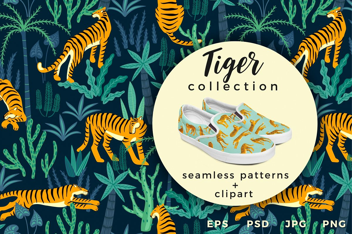 Tiger collection. Patterns & clipart example image 1