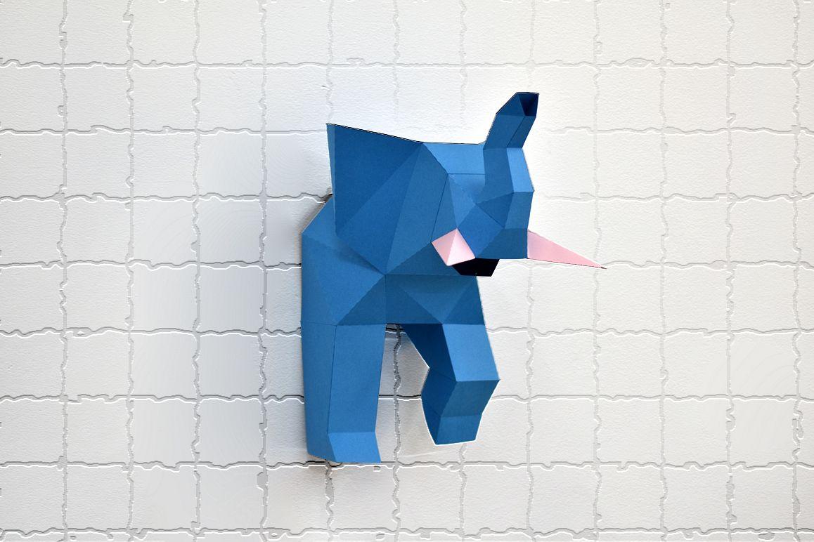 DIY Elephant trophy - 3d papercraft example image 1