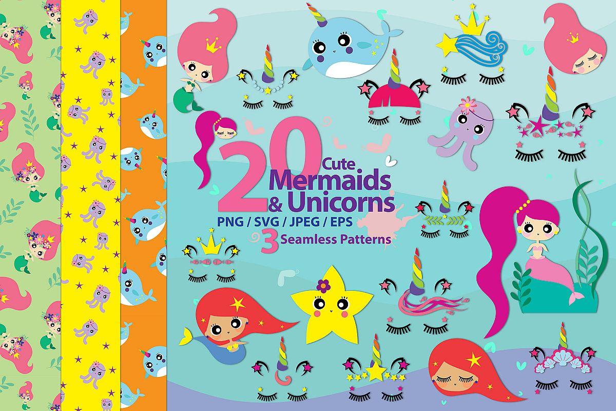 Cute mermaids & unicorns high res example image 1